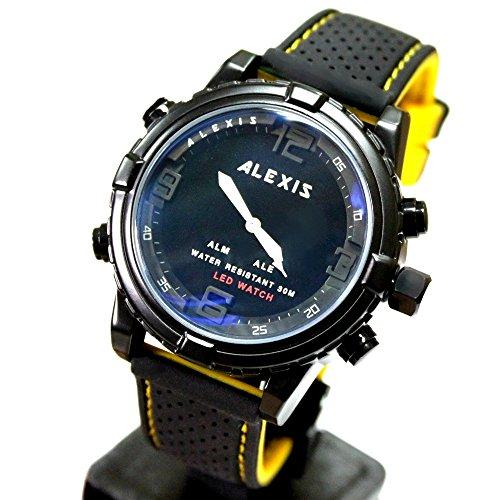 10 aw801e Wasser widerstehen Silikon Schwarz Band Boy Girl Dual Time Alexis anadigit Armbanduhr