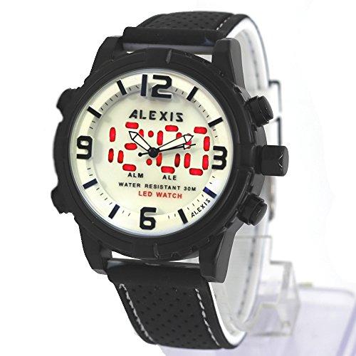 10 aw801h Wasser widerstehen Silikon Schwarz Band Boy Girl Dual Time Alexis anadigit Armbanduhr