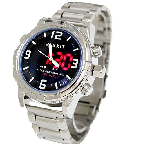 10 aw801l PNP glaenzend Silber Watchcase LED Hintergrundbeleuchtung Wasser widerstehen Herren anadigit Armbanduhr