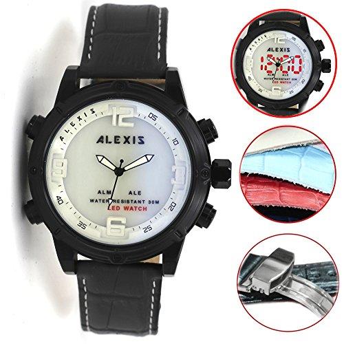 10 aw802 F Alarm Hintergrundbeleuchtung Wasser widerstehen Unisex Dual Time Alexis Analog Digital Armbanduhr