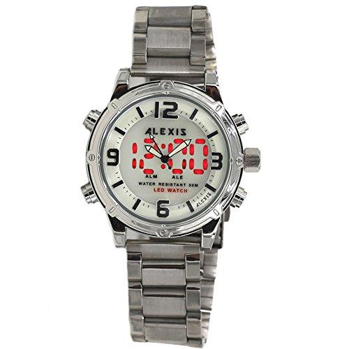 10 aw802d Datum LED Hintergrundbeleuchtung Wasser widerstehen Herren Dual Time Alexis Analog Digital Armbanduhr