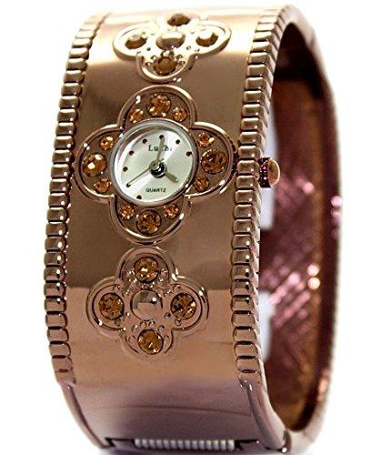 10 fw556b Silber Zifferblatt braun Band Braun Watchcase Damen Frauen LU Chi Armreif Armbanduhr