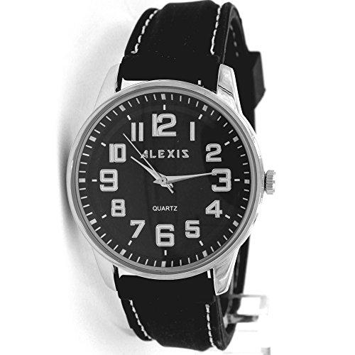 10 fw599 C New Silikon Schwarz Band Herren Frauen wasserabweisend Alexis Fashion Armbanduhr