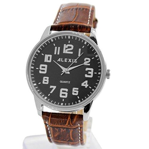 10 fw599i braun Band PNP glaenzend Silber Watchcase Wasser widerstehen Boy Girl Fashion Armbanduhr