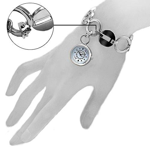 10 fw605 C natuerlichen PNP Glaenzendes Silber Watchcase weiss Zifferblatt Damen Frauen Armband Armbanduhr