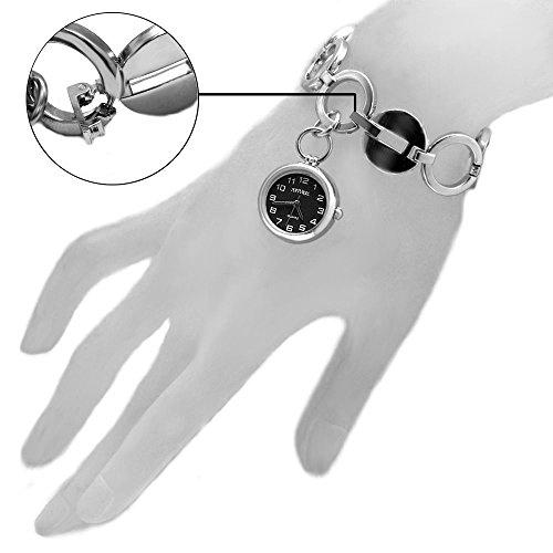 10 fw605b natuerlichen PNP Glaenzendes Silber Watchcase schwarz Zifferblatt Damen Frauen Armband Armbanduhr