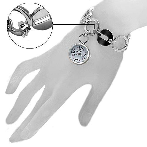 10 fw605e natuerlichen PNP Glaenzendes Silber Watchcase weiss Zifferblatt Damen Frauen Armband Armbanduhr
