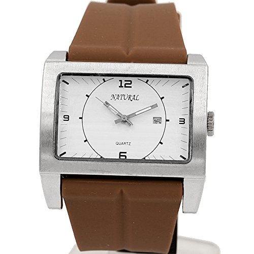 10 fw606 K rechteckig Silikon Braun Band Boy Girl grosszuegigen mit Datum Fashion Armbanduhr