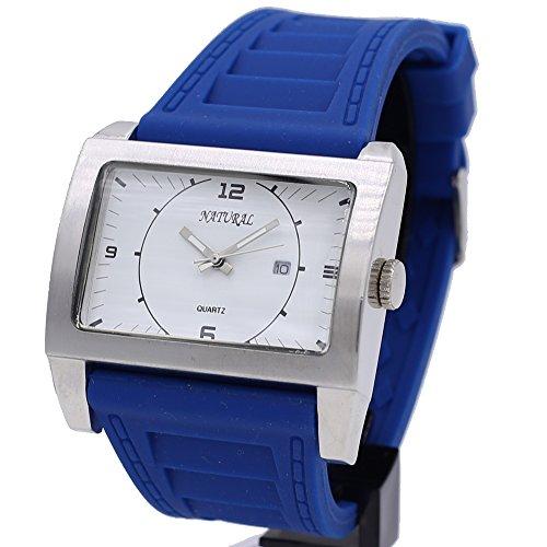 10 fw606 N natur rechteckig Silikon Kobalt Blau Band Junge Maedchen Smart Gents Fashion Watch