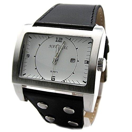 10 fw606 a natur weiss Zifferblatt schwarz Band rechteckig PNP matt silber Watchcase Armbanduhr