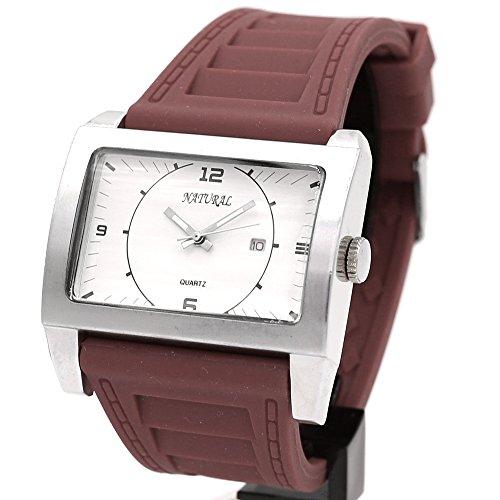 10 fw606o Natuerliche rechteckig Wasser widerstehen Silikon Braun Band Unisex Fashion Armbanduhr