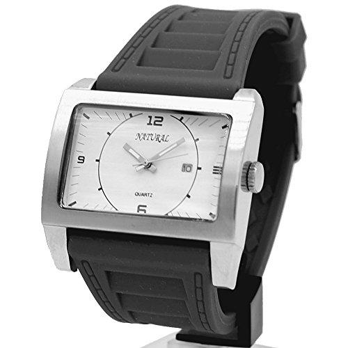 10 fw606p Wasser widerstehen Silikon Schwarz Band Herren Frauen glaenzend mit Datum Fashion Armbanduhr