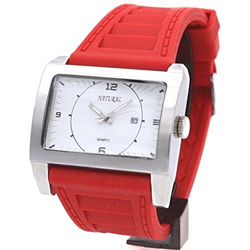 10 fw606q rechteckig Wasser widerstehen Silikon Rot Band Elegante Grosszuegige Fashion Armbanduhr