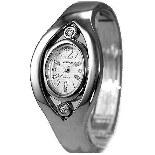 10 fw640 C glaenzend Silber Band Elliptische PNP glaenzend Silber Watchcase Damen Frauen Armreif Armbanduhr