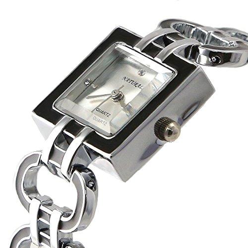 10 fw644b quadratisch PNP glaenzend Silber Watchcase Silber Zifferblatt Damen Frauen Armband Armbanduhr