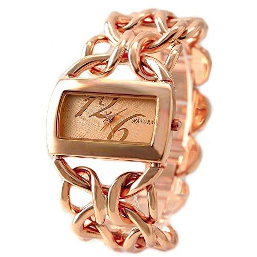10 fw675 C Rose Gold Ton Band rechteckig Rose Gold Ton Zifferblatt Damen Armband Armbanduhr