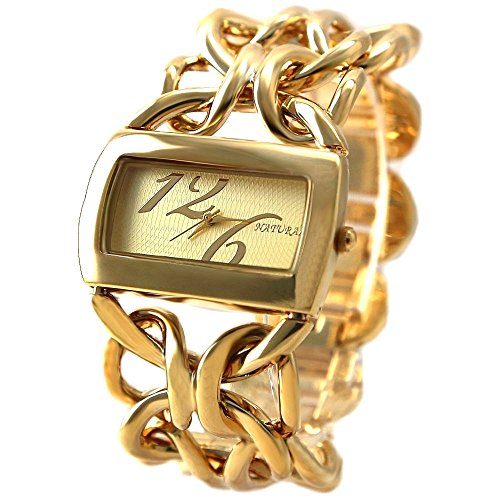 10 fw675 F NEU natur rechteckig gold Ton Zifferblatt Frauen natuerlichen Marke Armband Armbanduhr