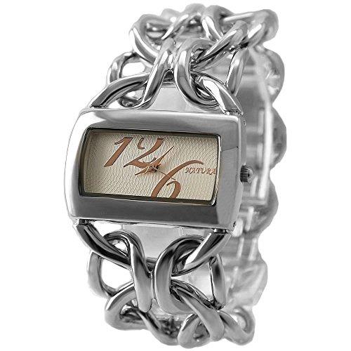 10 fw675g PNP glaenzend Silber Watchcase weiss Zifferblatt Damen natur Marke Armband Armbanduhr