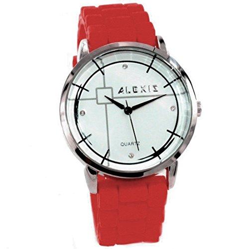 10 fw824g NEU weiss Zifferblatt PNP glaenzend Silber Watchcase Silikon Rot Band Fashion Armbanduhr