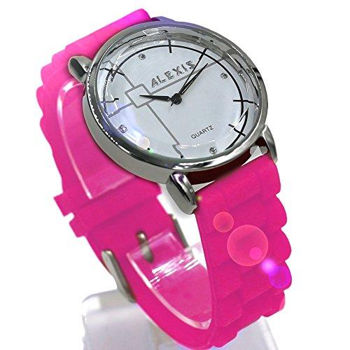 10 fw824h NEU weiss Zifferblatt Wasser widerstehen Silikon Band Rosa Damen Frauen Fashion Armbanduhr