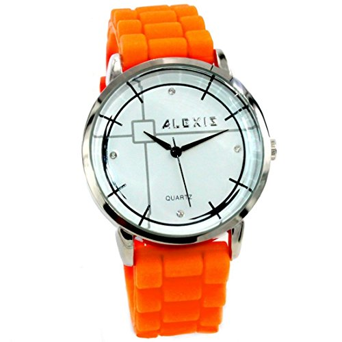 10 fw824j rund PNP Silber Watchcase Silikon Orange glaenzend Band Frauen Fashion Armbanduhr