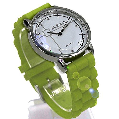 10 fw824p PNP glaenzend Silber Watchcase Wasser widerstehen Silikon Gruen Band Fashion Armbanduhr