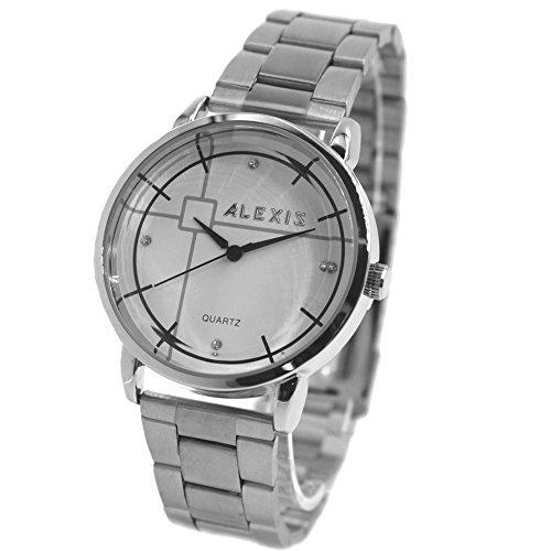 10 fw824q weiss Zifferblatt PNP glaenzend Silber Watchcase Wasser widerstehen Herren Frauen Armreif Armbanduhr