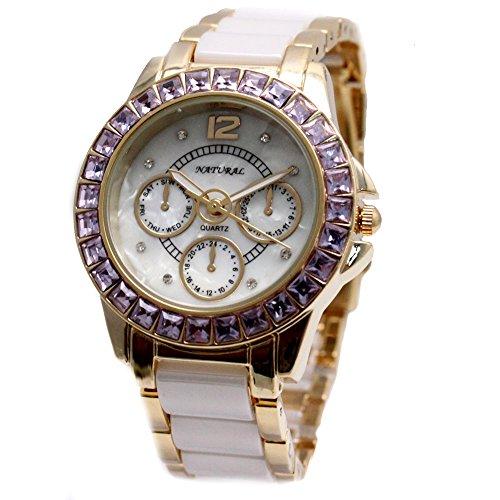 10 fw830 W Natuerliche Keramik weiss Zifferblatt wasserabweisend violett Kristall Armband Armbanduhr