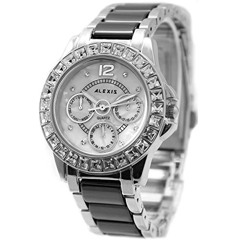10 fw830 K natuerlichen PNP Glaenzendes Silber Watchcase weiss Zifferblatt Damen Frauen Armband Armbanduhr
