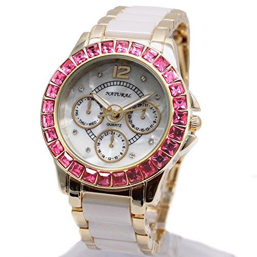 10 fw830 V NEU weiss Zifferblatt Frauen Keramik wasserabweisend rose Kristall Armband Armbanduhr