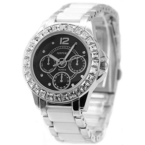 10 fw830j Gute trendige Stilvolles rund PNP glaenzend Silber Watchcase Wasser widerstehen Frauen Keramik Fashion Armbanduhr