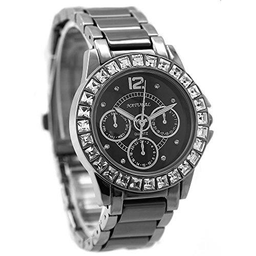 10 fw830o Gunmetal Band Wasser widerstehen schwarz Zifferblatt Damen Frauen Keramik Armband Armbanduhr