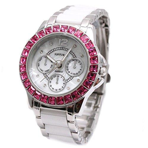 10 fw830r New glaenzend Silber Band weiss Zifferblatt Keramik Rose Pink Kristall Armband Armbanduhr