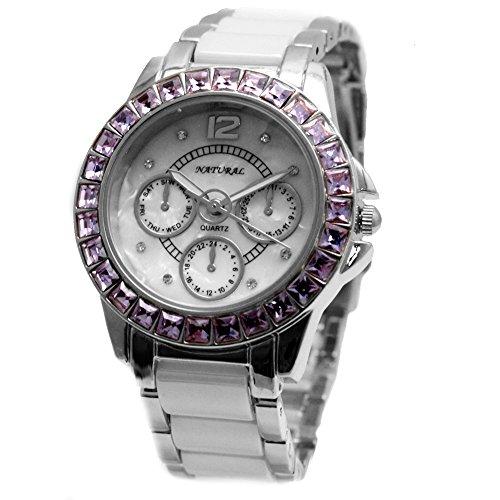 10 fw830s Wasser widerstehen weiss Zifferblatt Damen Frauen Keramik Violett Kristall Armband Armbanduhr