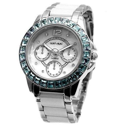 10 fw830t Neue Runde weisses Zifferblatt Frauen Keramik Aquamarin Blau Kristall Armband Armbanduhr
