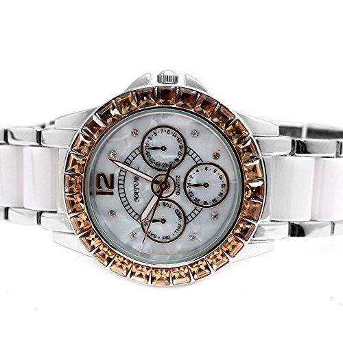 10 fw830u Wasser widerstehen weiss Zifferblatt Damen Frauen Keramik Topaz Armband Armbanduhr