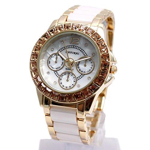 10 fw830y Neue Wasser widerstehen weiss Zifferblatt Damen Keramik wasserabweisend Armband Armbanduhr