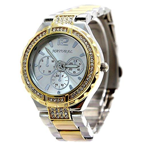 10 fw836 C Neue Wasser widerstehen weiss Zifferblatt Damen wasserabweisend Kristall Armband Armbanduhr