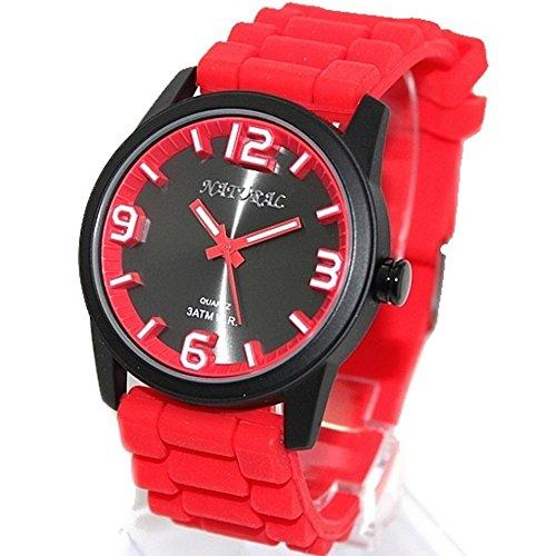 10 fw848 F schwarz Watchcase Silikon Rot Band Boy Girl 100 getestet 3 ATM Fashion Armbanduhr