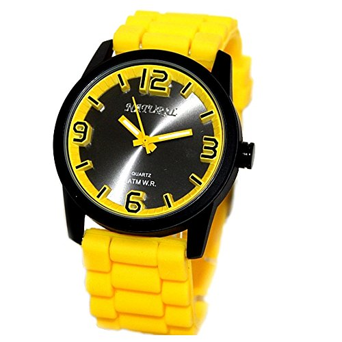 10 fw848 C Wasser widerstehen Silikon Gelb Band Boy Girl 100 getestet 3 ATM Fashion Armbanduhr