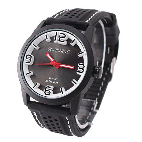 10 fw848 m Wasser widerstehen Silikon Schwarz Band Herren Frauen New White Stitch Fashion Armbanduhr
