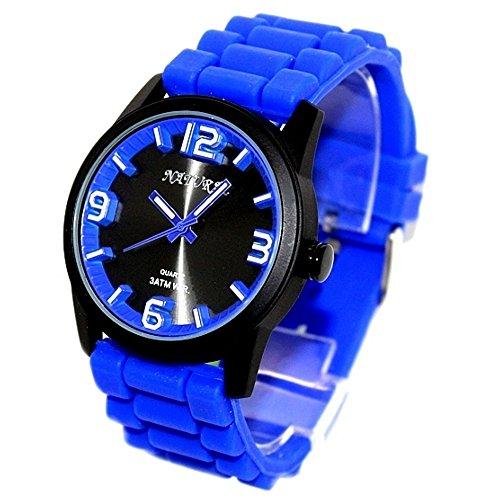 10 fw848e schwarz Zifferblatt Wasser widerstehen Silikon Blau Band 100 getestet 3 ATM Fashion Armbanduhr