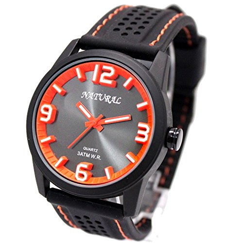 10 fw848l Wasser widerstehen Silikon Schwarz Band Unisex Smart Orange Stitch Fashion Armbanduhr
