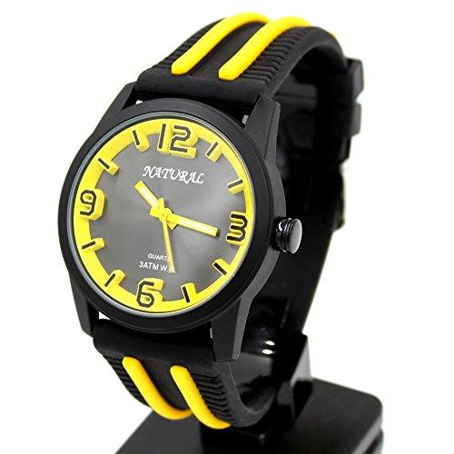 10 fw848o schwarz Zifferblatt schwarz Watchcase Silikon Schwarz Band Sport gelb Fashion Armbanduhr