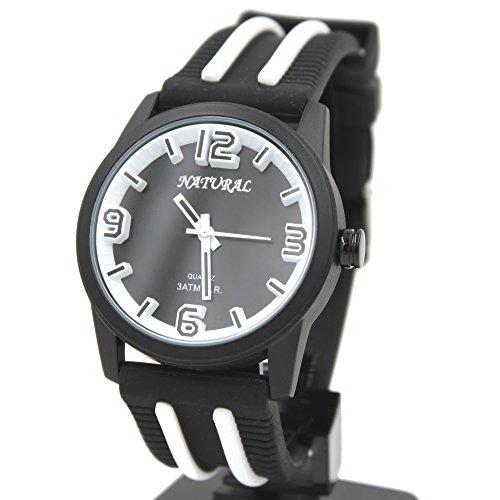 10 fw848r schwarz Zifferblatt rund Silikon Schwarz Band elegant grosszuegigen weiss Fashion Armbanduhr