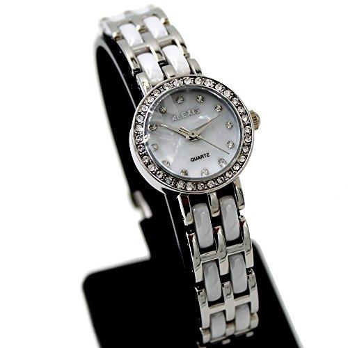 10 fw862 C PNP glaenzend Silber Watchcase Wasser widerstehen Damen Alexis Keramik Marke Uhr
