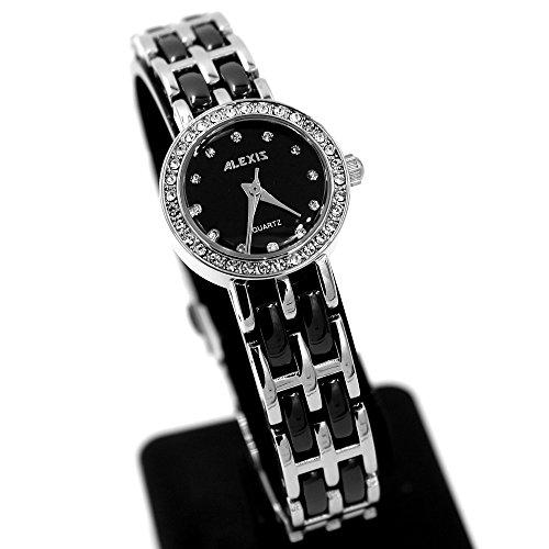 10 fw862d PNP glaenzend Silber Watchcase Wasser widerstehen Damen Alexis Keramik Armbanduhr Uhr