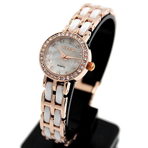 10 fw862g rund Rose Gold PNP Watchcase Frauen Keramik trendige Alexis Marke Uhr