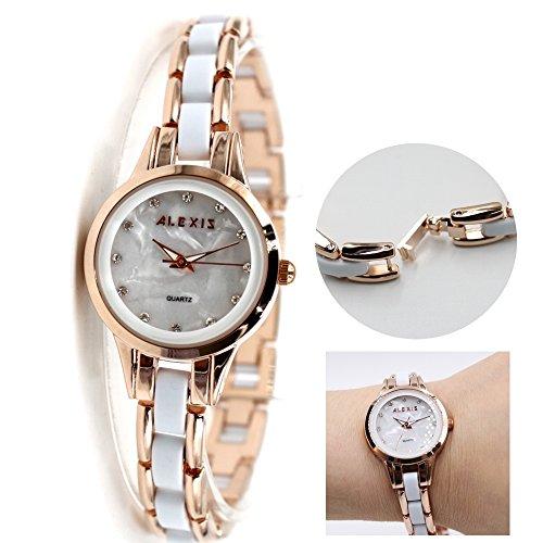 10 fw865 C Rose Gold pnp Watchcase Wasser widerstehen weiss Zifferblatt Damen Armband Armbanduhr