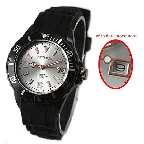 10 fw893 a natur rund Silikon Schwarz Band wasserabweisend mit Datum Fashion Armbanduhr